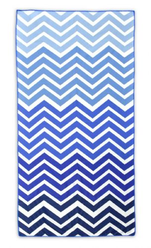 Microfibre Lightweight Beach Towel For Holiday Travel Camping Yoga Gym 70x140cm Chevron Blue
